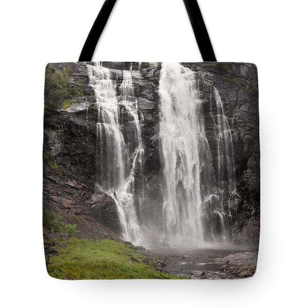Waterfalls Over A Cliff Norway Tote Bag by Keith Levit
