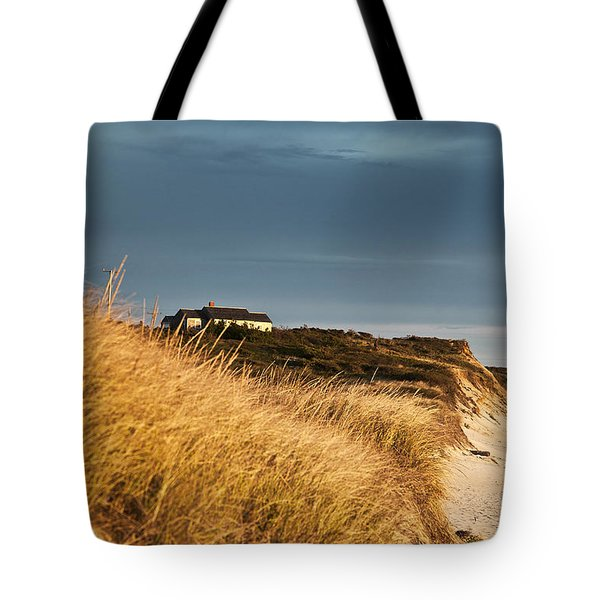 Waterfront Beach Cottage Tote Bag by John Greim