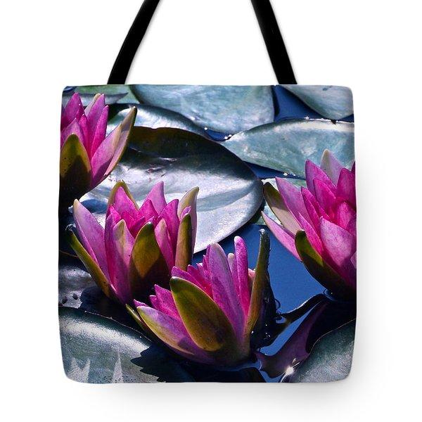 Waterlilies In Bright Sunlight Tote Bag by Byron Varvarigos
