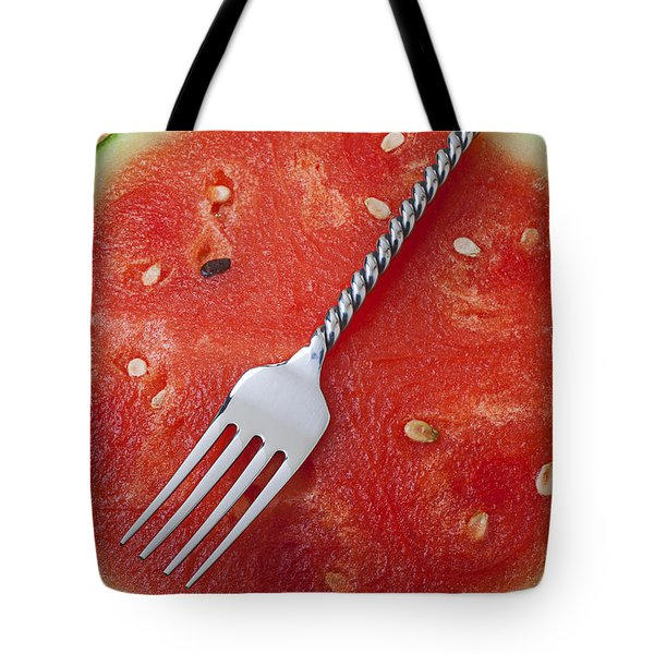 Watermelon And Fork Tote Bag by Garry Gay