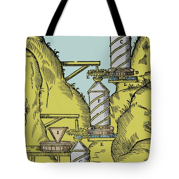 Watermill Reversed Archimedean Screw Tote Bag by Science Source