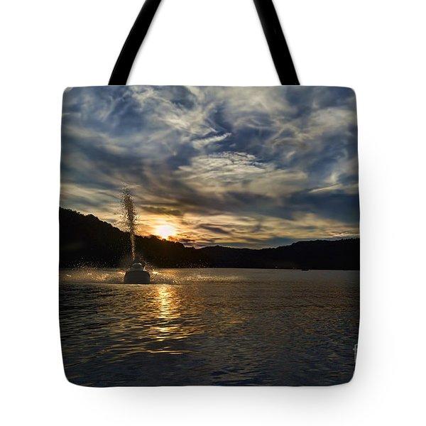 Wave Runner On Lake Evening Tote Bag by Dan Friend