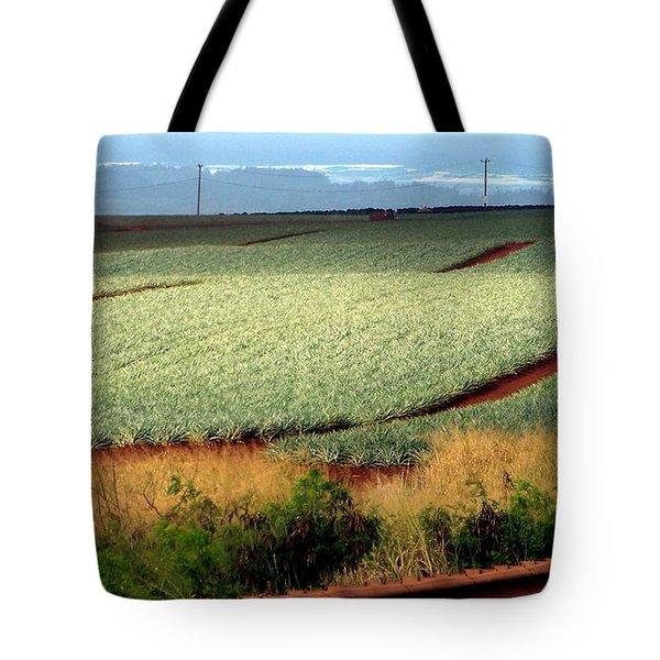 Waves Of Pineapple Tote Bag by Karen Wiles