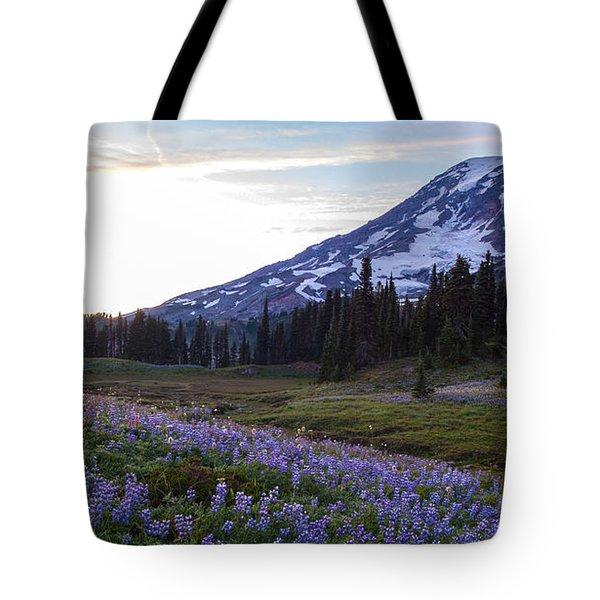 Waves Of Purple Tote Bag by Mike Reid