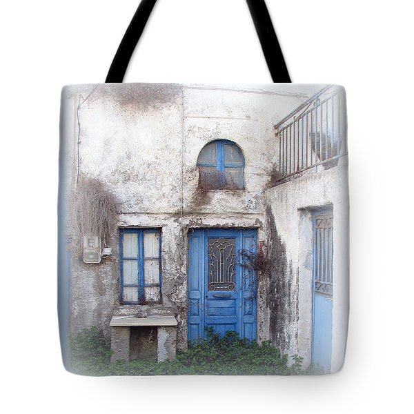 Weathered Greek Building Tote Bag by Carla Parris