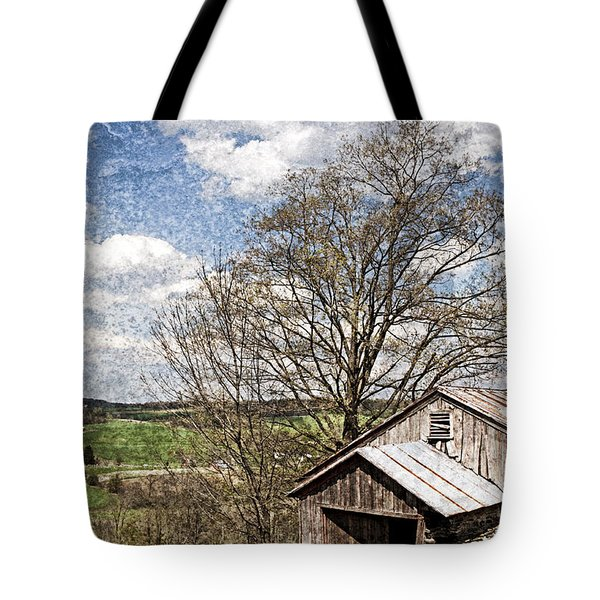 Weathered Hillside Barn Spring Tote Bag by John Stephens