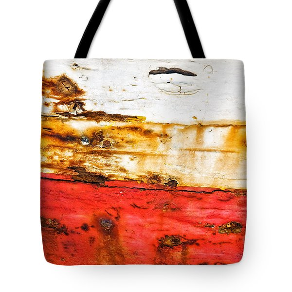 Weathered With Red Stripe Tote Bag by Silvia Ganora