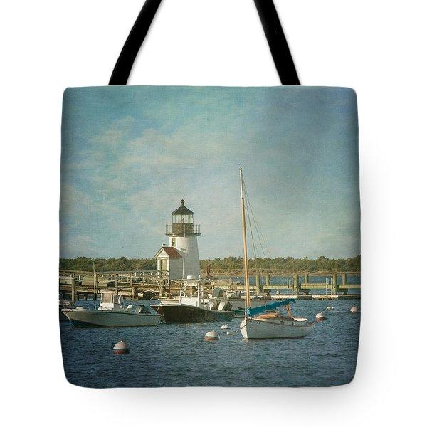 Welcome To Nantucket Tote Bag by Kim Hojnacki