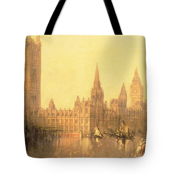 Westminster Houses Of Parliament Tote Bag by David Roberts