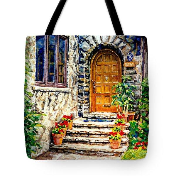 Westmount Montreal Street Scene Tote Bag by Carole Spandau