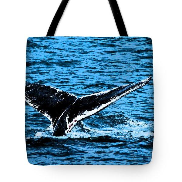 Whale Dip Tote Bag by Karol  Livote
