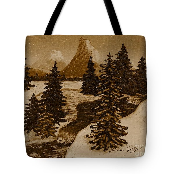 When it Snowed in the Mountains Tote Bag by Barbara Griffin