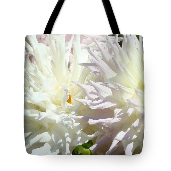 White Dahlia Flowers Art Prints Floral Tote Bag by Baslee Troutman