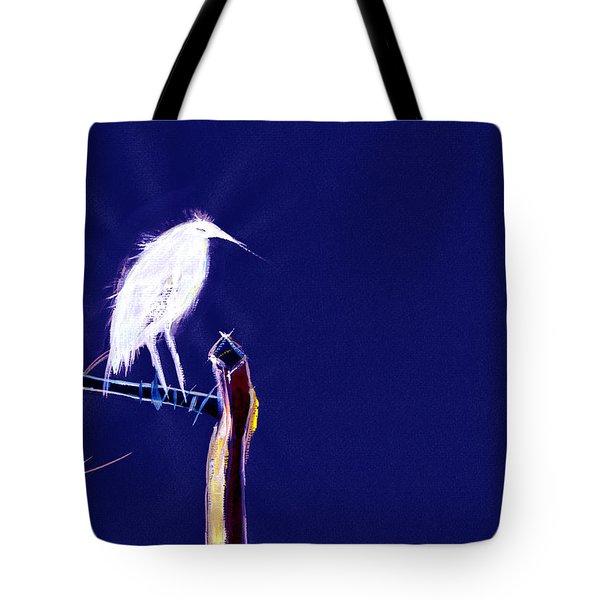 White Egret Tote Bag by Anil Nene
