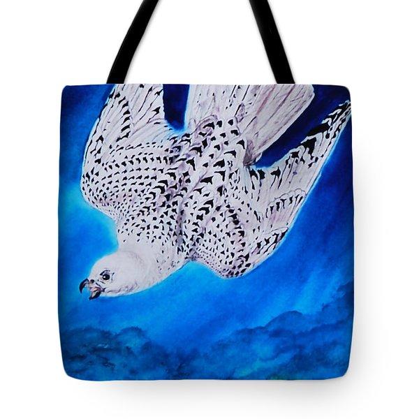 White Falcon Mascot Tote Bag by Phyllis Barrett