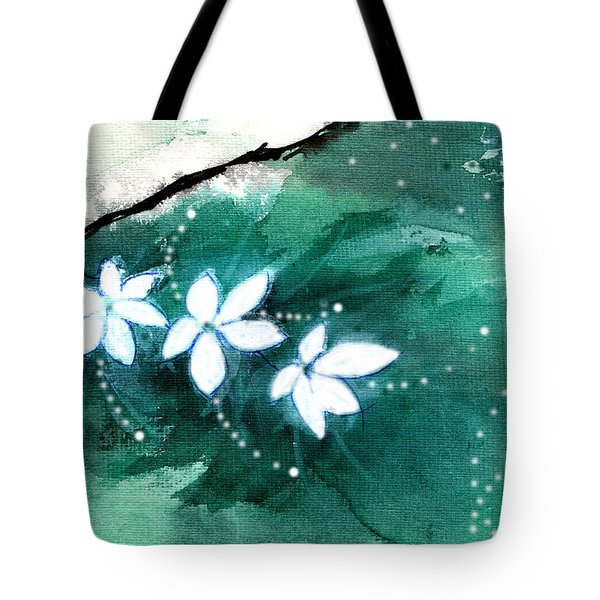 White Flowers Tote Bag by Anil Nene