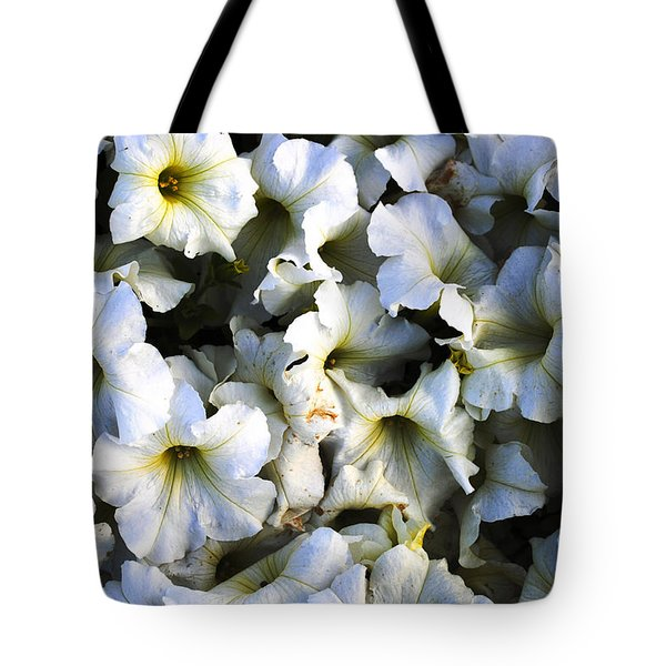 White Flowers At Dusk Tote Bag by Sumit Mehndiratta