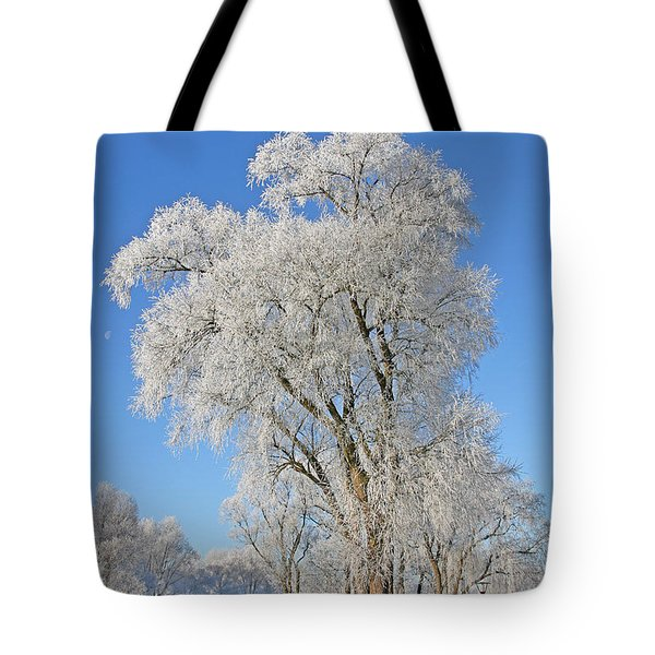 White Frost Tree Tote Bag by Ralf Kaiser