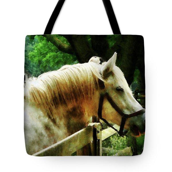 White Horse Closeup Tote Bag by Susan Savad