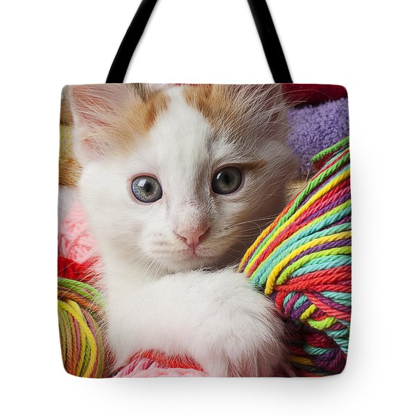 White Kitten Close Up Tote Bag by Garry Gay