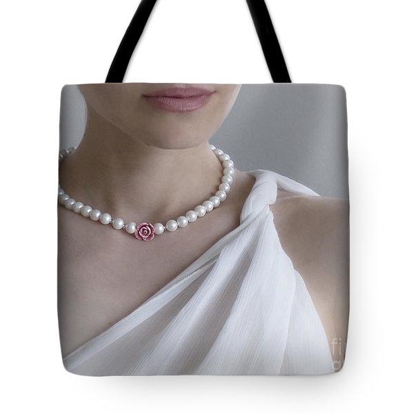 White Pearls Tote Bag by Eena Bo