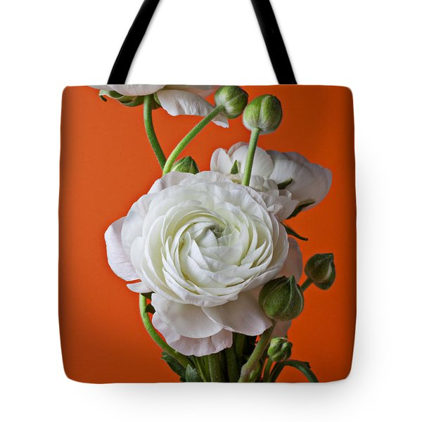 White Ranunculus Close Up In Red Vase Tote Bag by Garry Gay