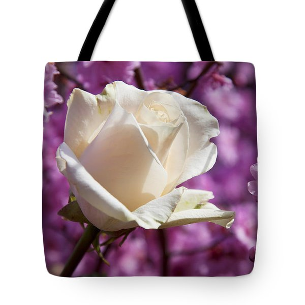 White Rose And Plum Blossoms Tote Bag by Garry Gay