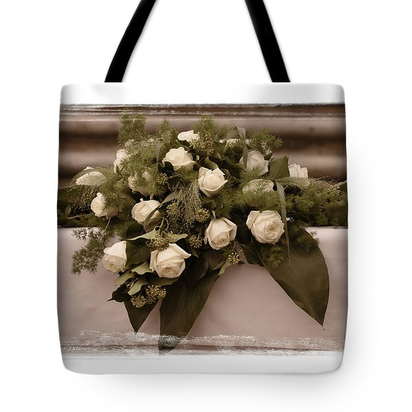 White Roses For The Wedding Tote Bag by Mary Machare