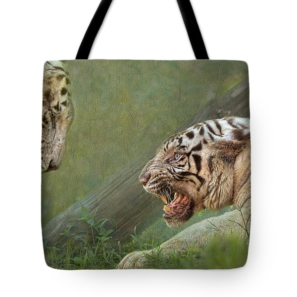 White tiger growling at her mate Tote Bag by Louise Heusinkveld