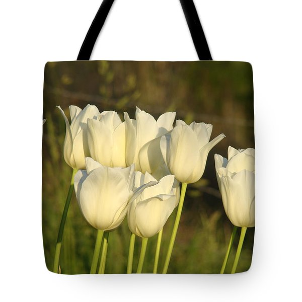 White Tulip Flowers Art Prints Spring Green Garden Tote Bag by Baslee Troutman