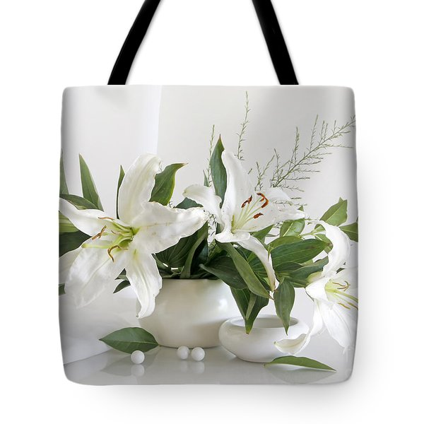 Whites Lilies Tote Bag by Matild Balogh