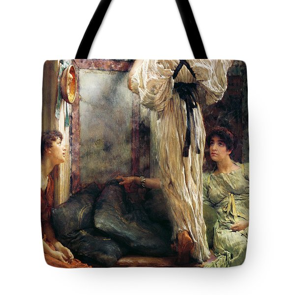 Who Is It Tote Bag by Sir Lawrence Alma-Tadema