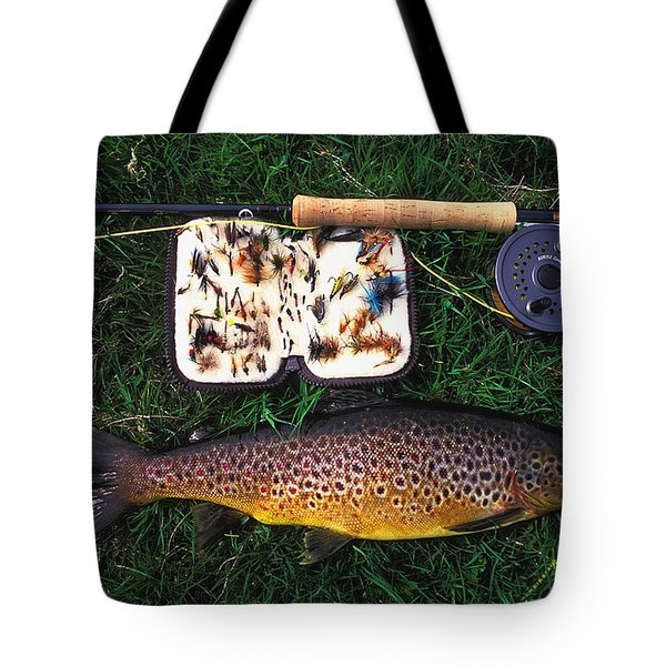 Wild Brown Trout And Fishing Rod Tote Bag by Axiom Photographic