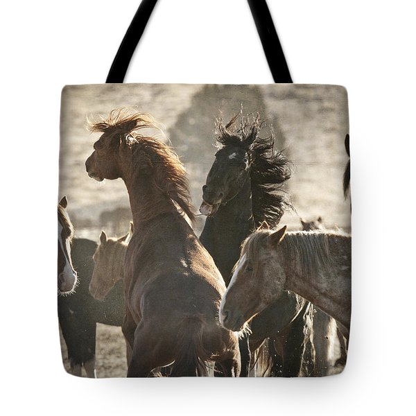 Wild Horse Battle D1713 Tote Bag by Wes and Dotty Weber