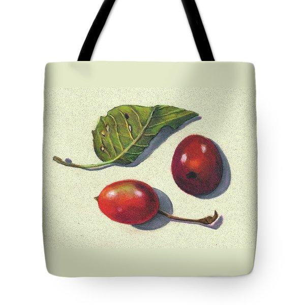 Wild Plums And Leaf Tote Bag by Joyce Geleynse