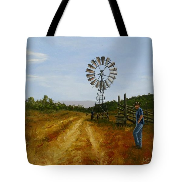 Windmill At Mandagery Tote Bag by Anne Gardner