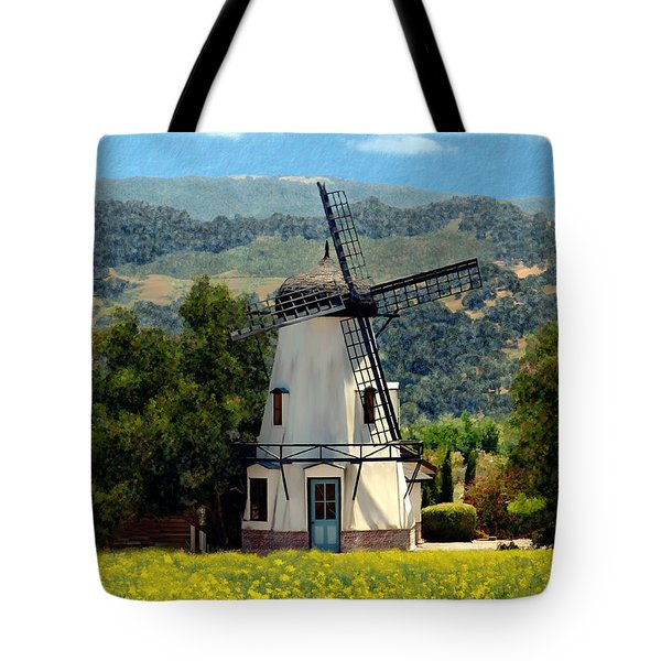 Windmill At Mission Meadows Solvang Tote Bag by Kurt Van Wagner