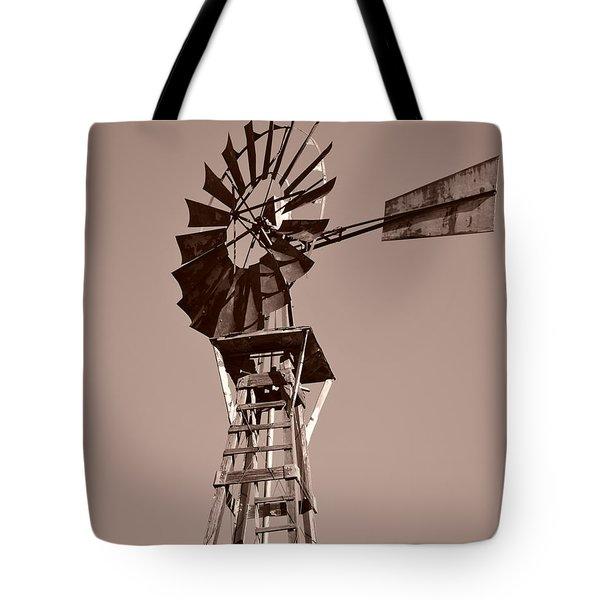 Windmill Sepia Tote Bag by Rebecca Margraf
