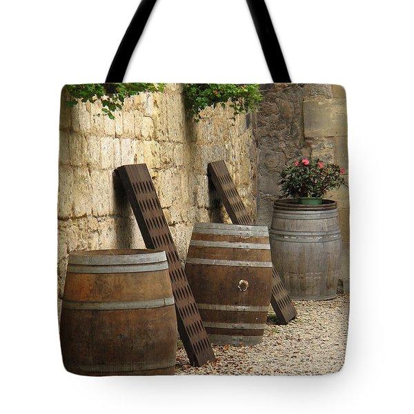 Wine Barrels And Racks In Saint Emilion France Tote Bag by Greg Matchick