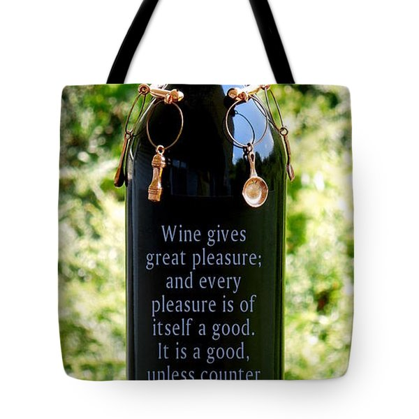 Wine Gives Great Pleasure Tote Bag by Renee Trenholm