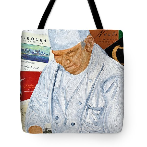 Wine Label Chef Tote Bag by Michael Lee