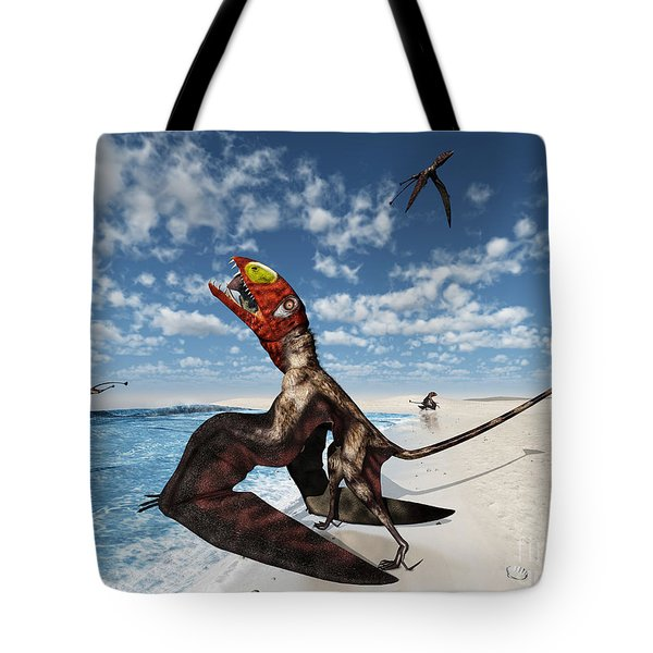 Winged Dimorphodon Pluck Fish Tote Bag by Walter Myers