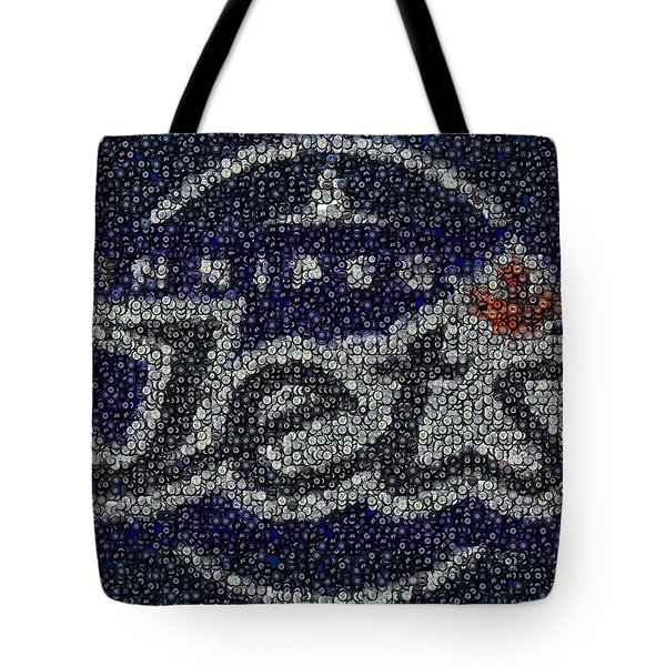 Winnipeg Jets Puck Mosaic Tote Bag by Paul Van Scott