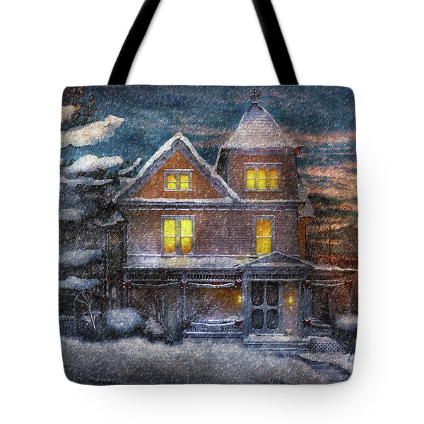Winter - Clinton NJ - A Victorian Christmas  Tote Bag by Mike Savad