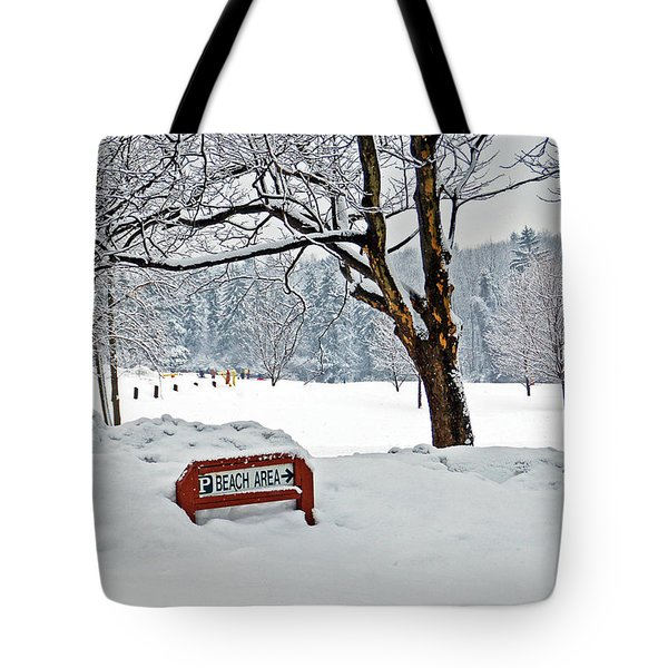 Winter Beach Sign Tote Bag by Aimee L Maher Photography and Art