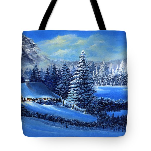 Winter Cabin Tote Bag by Bonnie Cook
