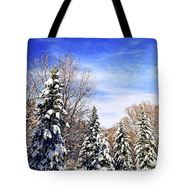 Winter forest under snow Tote Bag by Elena Elisseeva