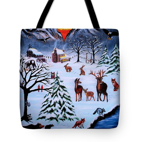 Winter Gathering Tote Bag by Adele Moscaritolo