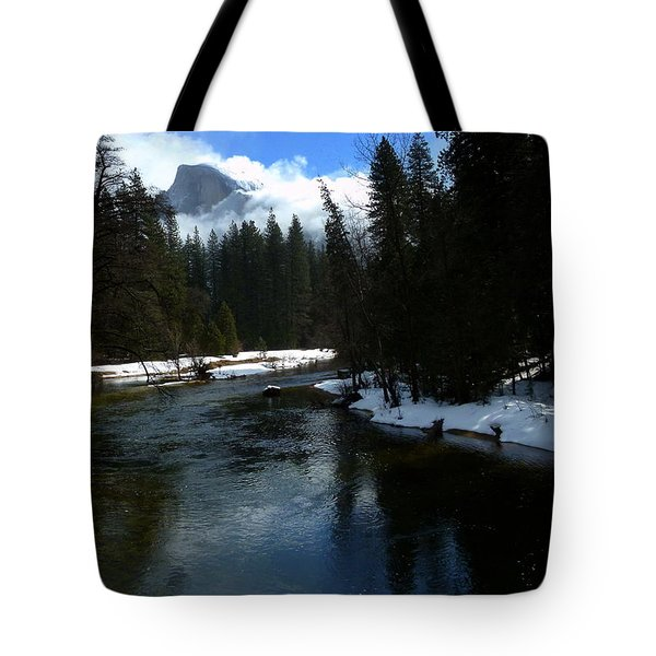 Winter Half Dome And The Merced River Tote Bag by Jeff Lowe