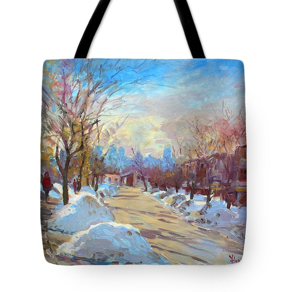 Winter In Silverado Dr Mississauga On Tote Bag by Ylli Haruni